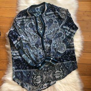 YFB blue Paisley Print Cotton Long Sleeve V Neck